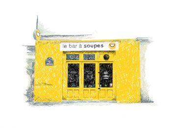 bar à soupe, rue de charonne, bastille, illustration