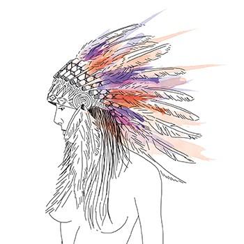 indian-headress, fashion illustration