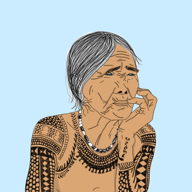 tattoo, portrait, illustration, graphic design, hipster, grandma, tahiti, polinesie