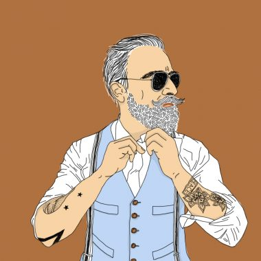 tattoo, portrait, illustration, graphic design, hipster, bear