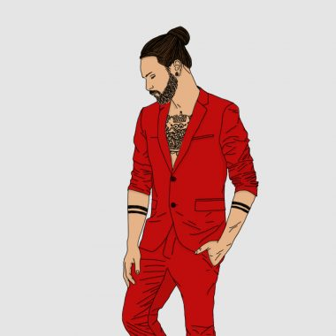 tattoo, portrait, illustration, graphic design, hipster, suit, red