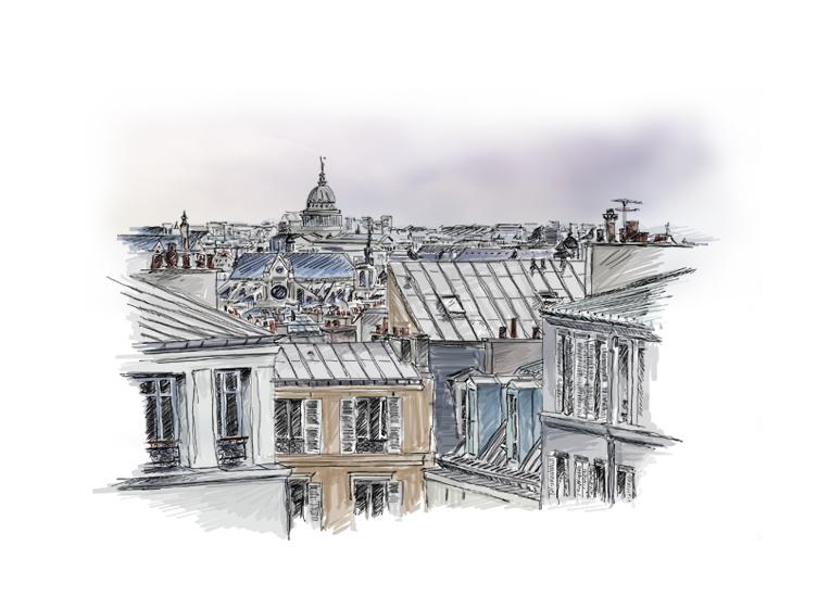 toits paris, rooftop, ciel, illustration,