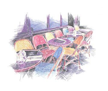 paris, rue de la roquette, bastille, qg, terasse, illustration