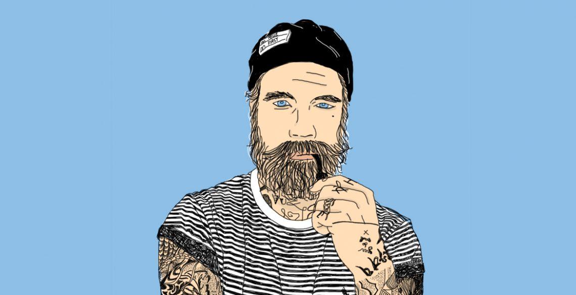 hipster bear tattoo navy blue