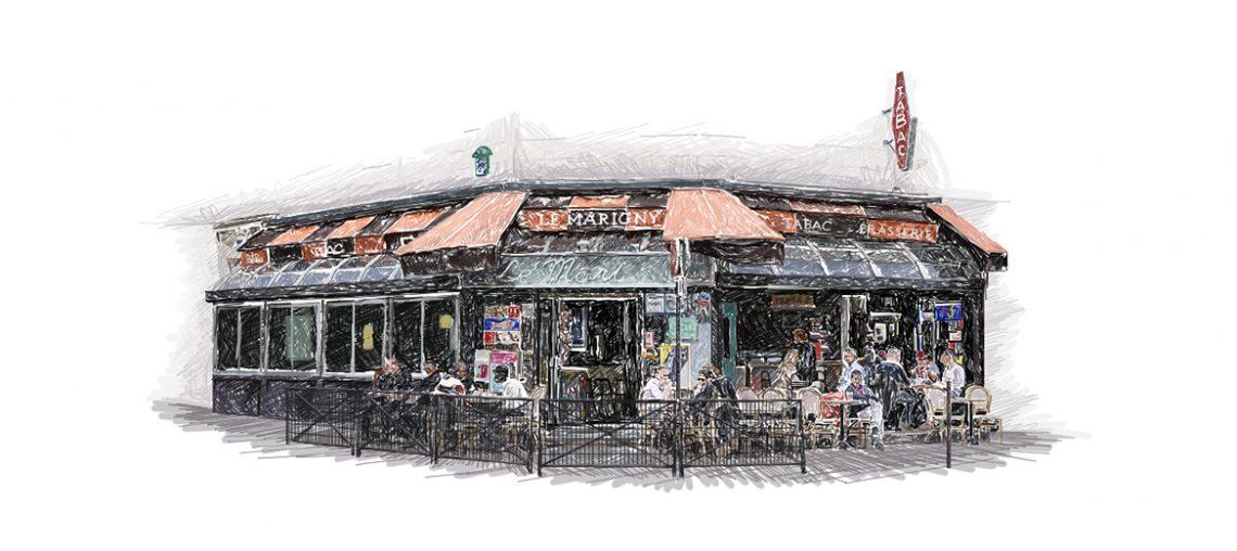 paris, le marigny, tabac, rue de charonne, illustration, graphisme
