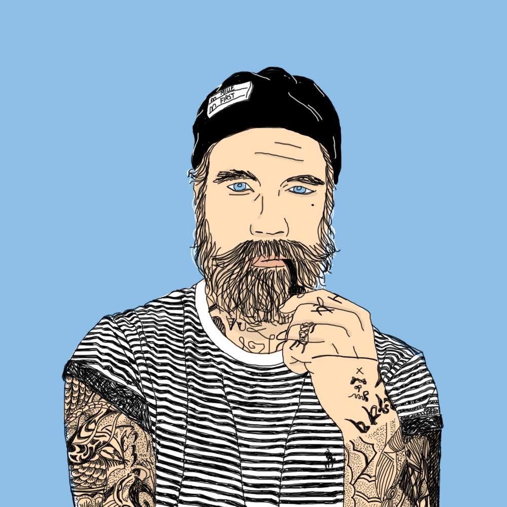 tattoo, portrait, illustration, graphic design, hipster, navy, marin, blue, stripes, bear