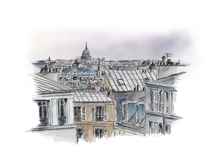 toits paris, rooftop, ciel, illustration,