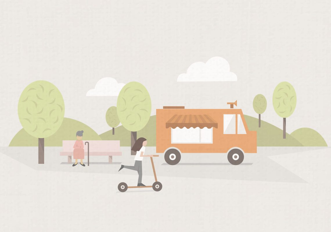 vector art, illustration, graphic design, scooter, parc, kid, ice cream truck, scooter