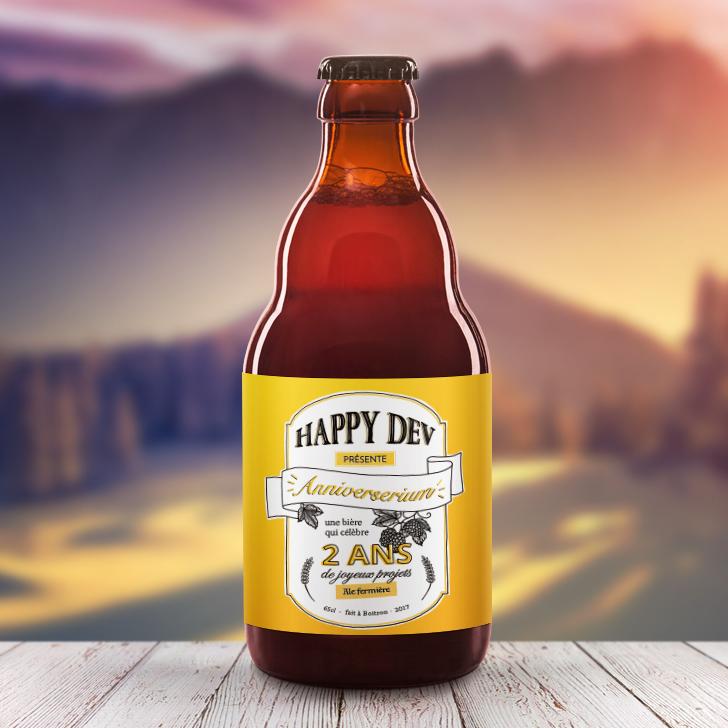 Label bière Happy Dev